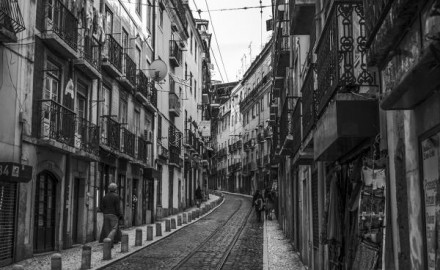 Street in Lisbon with tramlines