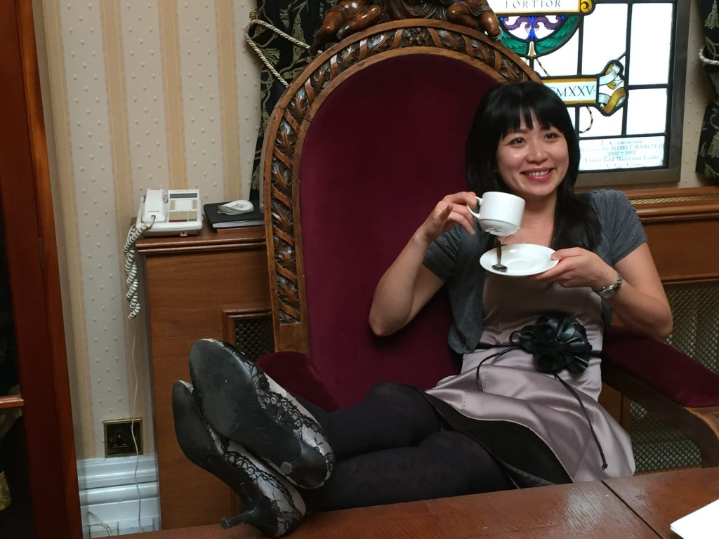 Yun gets comfy in 150 year old chair from Burslem