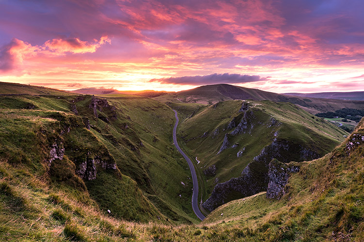 Winnats Pass Fire Sky Sunset by Jason Bould